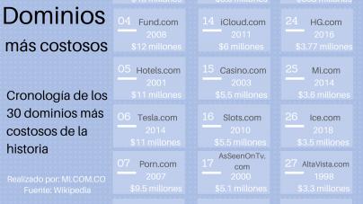 top 20 dominios mas costosos